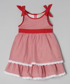 Loving this Red Stripe Ruffle Dress - Infant & Toddler on #zulily! #zulilyfinds