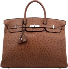 Hermes 40cm Noisette Ostrich Birkin Bag with Palladium Hardware.D Square, 2000. Very Good to Excellent Condition. ...