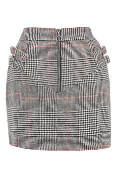 Buckle Side Checked Mini Skirt