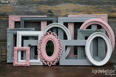 Baby Girl Nursery / Shabby Chic Decor / Girl's Room / Distressed Picture Frame Set / Rose City Collection on Etsy, $52.00