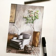 #interiordesign #interiorsketch More
