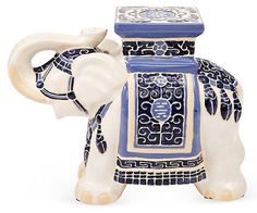 There's an elephant in the room. One Kings Lane - Add Character - Elephant Stool, White/Blue