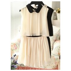Buy Charming Turndown Collar Fake Two-Piece Dress Beige with cheapest... via Polyvore