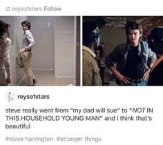 Steve is one of the best developed and funny characters on the whole show and I love it. Steve Harrington Stranger Things, Stranger Things Steve, Stranger Things Aesthetic, Stranger Things Funny, Funny Things, Fandoms Unite, Stranger Things Have Happened, Stranger Danger, Joe Keery