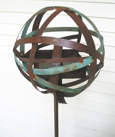 Bird Feeder No. 300 In Welded Steel And Copper With Natural Turquoise And Rust…