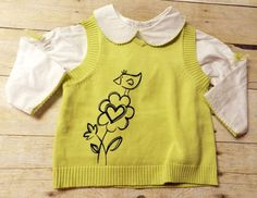 Vitamins Kids Girls 2 Pc Top & Vest Size 12 Month Crochet Collar Bird Graphic  #VitaminsKids