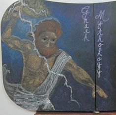 ZEUS --  I stumbled upon a most striking image by The Gryph (Nicole Cardiff) via a Google image search for a good picture of Zeus. Click here for the original: http://thegryph.deviantart.com/art/Zeus-95576890 #waldorf #chalkboard #class5 #greek #mythology