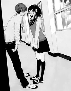 Manga Couple Heheh :D My school is not a big one like the school that I saw In anime *BUT* I'm doing this stuff with my bf *Me* *shy person* *and a little lonely* *but I like it* xD - Manga Love, Anime Love, Anime Guys, Manga Couples, Cute Anime Couples, Manga Anime, Desenhos Love, Tamako Love Story, Anime Kawaii