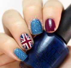 #unionjack #nails #nailart #union #jack #glitter #sparkle #blue #red #white #burgundy #navy #holiday #festive #christmas #xmas