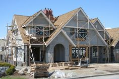 Photo about Upscale executive house under construction. Image of house, roofing, city - 662339 Home Design, Interior Design, New House Construction, Construction Contractors, Construction Services, Residential Construction, Building A New Home, House Building, Building Ideas