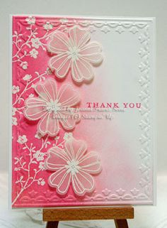 Sleepy in Seattle: Flower Shop Meadow, Whisper White card base with Tulip Frame embossing folder. The Morning Meadow branch was embossed in white, sponged in Strawberry Slush ink that I faded in to Pink Pirouette. Flower Shop pansies embossed in white on vellum and punched out with pansy punch.