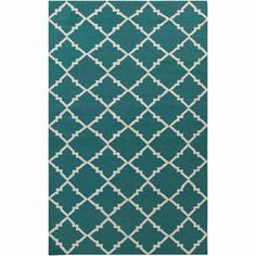 Libby Langdon Prichard Hand Woven Gate Scroll Flatweave Wool Area Rug, Teal I like this one for your bedroom.