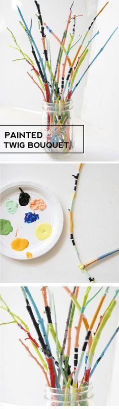 Make a bouquet of painted twigs for an easy way to add color to your home. This is a great kids craft too! Twig Crafts, Stick Crafts, Flower Crafts, Wood Crafts, Garden Crafts, Kids Nature Crafts, Fun Arts And Crafts, Fun Crafts, Easy Diy Crafts