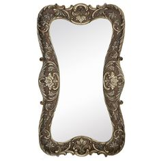 Found it at Wayfair - Large Curvy Silver with Dark Wash Traditional Hanging Wall Mirror