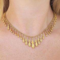 Antique Victorian Fringe Necklace in 14K #gold #vintage #jewelry