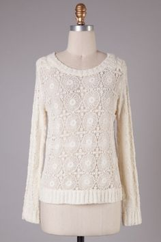 Long sleeve knit top with front circle crochet detailing