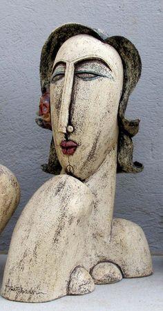 Ceramic Sculpture - Ceramic bust sculpture beautiful woman