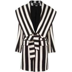 Balmain striped coat (8 727 AUD) ❤ liked on Polyvore featuring outerwear, coats, jackets, balmain, black, print coat, pattern coat, mid length coat, balmain coat and stripe coat