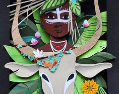 La segunda parte de la serie Flora y Fauna, ésta utiliza los ecosistemas de Etiopía como inspiración. Nunca supe granos de café fueron tan coloridos en su etapa madura!  Hecho con papel, usando el pegamento archivado y rociado con un protector UV. Esta es la obra de arte original y viene lista para colgar (aunque esta pieza es lo suficientemente profunda para valerse por sí mismo). 9.5 x 11,5 x 2