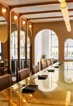 Lunar festival informed Studio Tack's design of Tsukimi restaurant in New York Restaurant New York, Restaurant Design, Restaurant Interiors, Restaurant Concept, Design Hotel, Japanese Interior, Japanese Design, East Village, White Oak