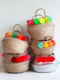 totally doable to make pom poms for baskets.