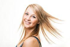 High key headshot of Dominique. Beautiful blonde fitness model