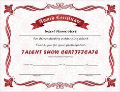 talent show certificate template