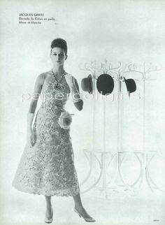 LOfficiel French Magazine Advertisement 1964 Jacques Griffe Lace Cocktail Dress