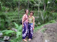 Nina & Leah by the rice terraces. Click here to learn why we love to design in Bali http://www.ninadesigns.com/blog/2010/07/12/sterling-silver-pendants-in-bali/ #bali #travel #design