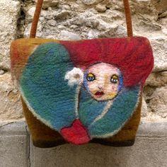 RESERVED Felt Handbag Hand felted Felt purse unique Nunofelt womens felted bag Artistic purse french handbag fiber art Boho
