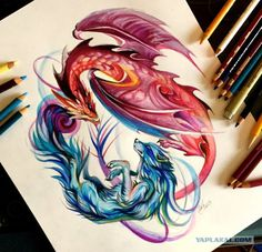 Loup et Dragon Colorful Drawings, Cool Drawings, Pencil Drawings, Wolf Tattoos, Body Art Tattoos, Dragon Wolf, Dragon Artwork, Dragon Drawings, Desenho Tattoo