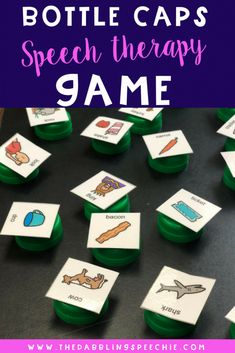 DIY speech therapy materials using bottle caps and free articulation word sheets