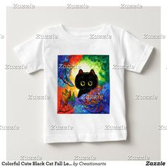 Colorful Cute Black Cat Fall Leaves Creationarts Baby T-Shirt Fall Cats, Funny Baby Shirts, Cute Black Cats, Consumer Products, Fall Leaves, Dog Design, Cat Art, Funny Cats, Shop Now