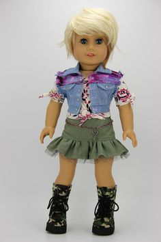 Handmade 18 inch doll clothes - Purple and green 4 piece denim vest outfit (810)