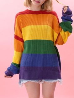 Rainbow Fashion: A Complete List of Rainbow Items, Clothing, and Accessories - An amazing selection of fashion clothes and accessories with the theme we have loved most: rainbows - Kawaii Fashion, Cute Fashion, Fashion Outfits, Womens Fashion, Knit Fashion, Grunge Outfits, Fashion Clothes, Fashion Fashion, Rainbow Outfit