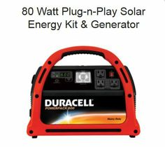 Click Here: http://diygreenpowerforhome.com/SolarSphere-3.php | http://diygreenpowerforhome.com | Product Description - Solar Generators The new version of our 80 Watt Plug-n-play series contains the more portable Duracell 600 Powerpack. System comes completely plug-n-play, no wiring or assembly. Just plug the solar panel into the powerpack and put the panel in the sun! For more information: http://diygreenpowerforhome.com/SolarSphere-3.php