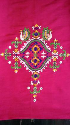 Kutch work kurta by sonal Hand Embroidery Design Patterns, Hand Embroidery Dress, Kurti Embroidery Design, Hand Embroidery Videos, Embroidery Works, Hand Embroidery Stitches, Creative Embroidery, Indian Embroidery, Hand Work Design