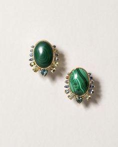Malachite Stone Earring 925 Silver 14K Yellow Gold Malachite Green Bullet Drop