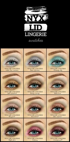 NYX Lid Lingerie Eye Tint all 12 Swatches + Review + Smokey Eyes Makeup Tutorial