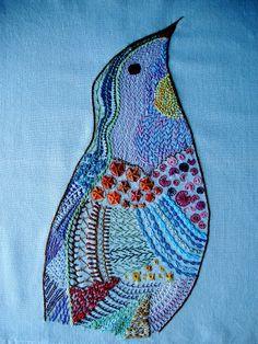 Beautiful embroidered bird, Queenie's Needlework