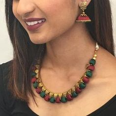 Handmade Silk Thread Necklace Set – Sarang Silk Thread Necklace, Thread Jewellery, Long Tassel Earrings, Tassel Necklace, Handmade Jewelry Designs, Handmade Necklaces, Coconut Shell Crafts, Jewelery, Jewelry Necklaces