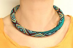 Bead Crochet Necklace with Geometric Pattern by KittenUmka on Etsy