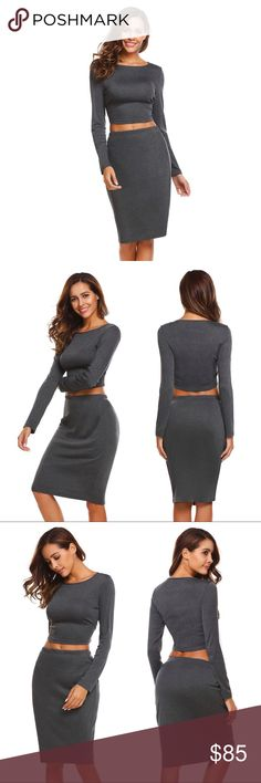 Long Sleeve Midi Cropped Top and Skirt Set Grey This cute two piece dress, cropped long sleeve top and midi skirt set is comfortable, casual, and can be worn together or as separates. Two great wardrobe staples in one! Elastic waist, soft stretch knit fabric.  Available in black, white, and grey.  65% poly 30% cotton 5% spandex  Sizes XS, S, M, L, XL/1X, XXL/2X  ❌ Sorry, no trades.  fairlygirly fairlygirly Skirts Skirt Sets