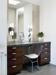 Double Vanity With Mosaic Tile Backsplash : I want!
