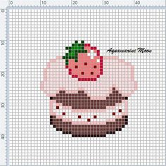 Fuse Beads, Pearler Beads, Perler Patterns, Craft Patterns, Cross Stitch Designs, Cross Stitch Patterns, Stitch Cake, Kawaii Cross Stitch, Stitch Cartoon