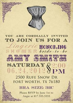Lingerie shower invitation & coordinating by SongbirdGreetings, $20.00