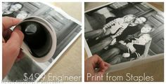 Have you heard about the engineer prints from Staples? Oh.My.Goodness. They have completely changed our life for the better. Just wait, you'll feel the same way. Take your favorite picture into Staples and ask for an oversized print (they come in multiple sizes, but the largest is 3' by 4'. They'll make a copy right there for you, and the best part…..it costs less than $5 for a print! You're only able to get the picture in black and white, but who cares?! It's 5 bucks! The  tricky thing is t...