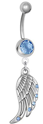 Surgical Steel Light Blue CZ Studded Angel Wing Dangle Belly Button Ring: Forbidden Body Jewelry is pleased to be your go-to resource for all of your navel piercing jewelry needs. Whether you want to adorn your belly button piercing with jewelry that is stylish, sexy, pretty or plain, we have you covered! We are always updating our selection to bring you the best variety of cute belly rings. You can reach out to our Customer Happiness Team any time - our friendly associates look forw...