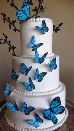 Butterfly Wedding Cake, Butterfly Birthday Cakes, Butterfly Cakes, Cake With Butterflies, 14th Birthday Cakes, Butterfly Wedding Invitations, Butterfly Mobile, Beautiful Wedding Cakes, Gorgeous Cakes