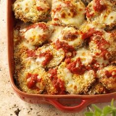 Eggplant Parmesan with baked eggplant, instead of fried.  From Taste of Home/Healthy Cooking magazine